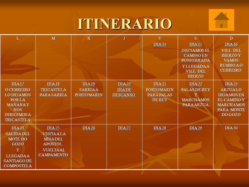 ITINERARIO LMXJV DIA 14 S DIA 15 INICIAMOS EL CAMINO EN PONFERRADA Y LLEGADA A VILL. DEL BIERZO D DIA 16 VILL. DEL BIERZO Y VAMOS RUMBO A O CEBREIRO.