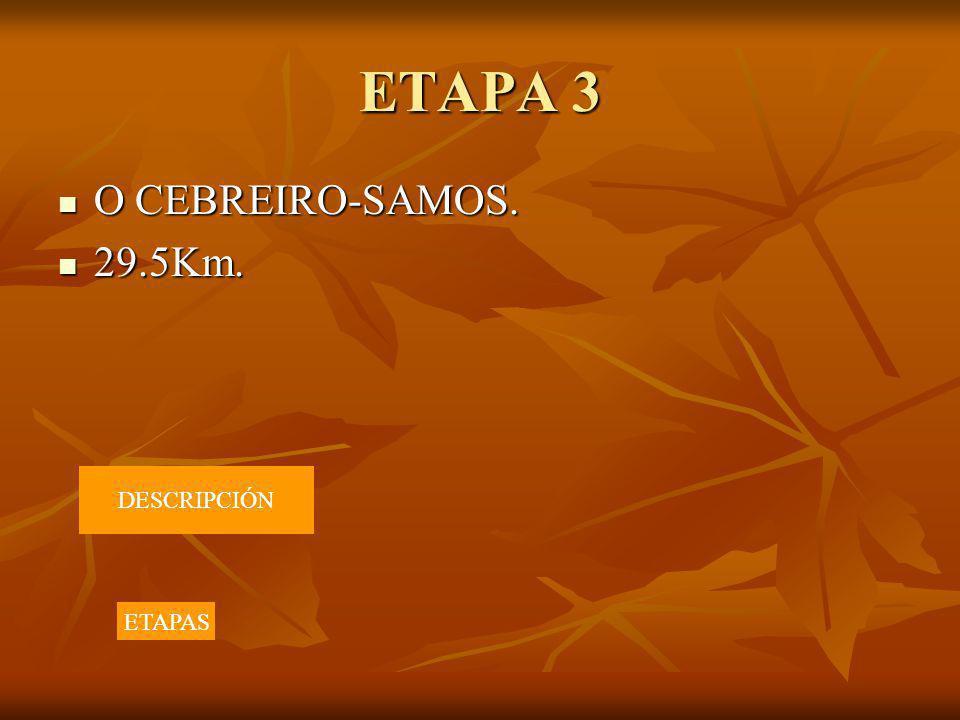 ETAPA 3 O CEBREIRO-SAMOS. O CEBREIRO-SAMOS. 29.5Km. 29.5Km. DESCRIPCIÓN ETAPAS