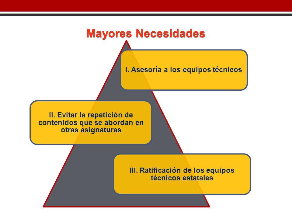 Mayores Necesidades III. Ratificación de los equipos técnicos estatales I.