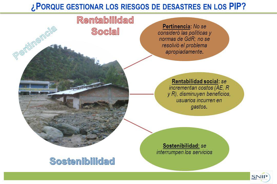 ¿P ORQUE GESTIONAR LOS RIESGOS DE DESASTRES EN LOS PIP?