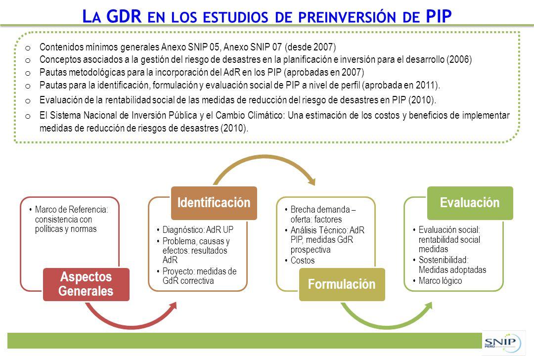 Marco de Referencia: consistencia con políticas y normas Aspectos Generales Diagnóstico: AdR UP Problema, causas y efectos: resultados AdR Proyecto: m