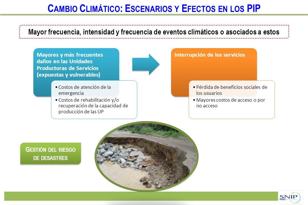 C AMBIO C LIMÁTICO : E SCENARIOS Y E FECTOS EN LOS PIP Mayores y más frecuentes daños en las Unidades Productoras de Servicios (expuestas y vulnerable