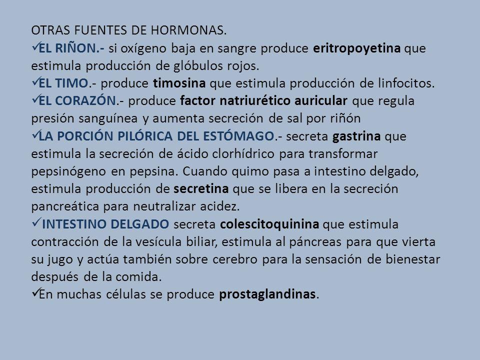OTRAS FUENTES DE HORMONAS. EL RIÑON.- si oxígeno baja en sangre produce eritropoyetina que estimula producción de glóbulos rojos. EL TIMO.- produce ti