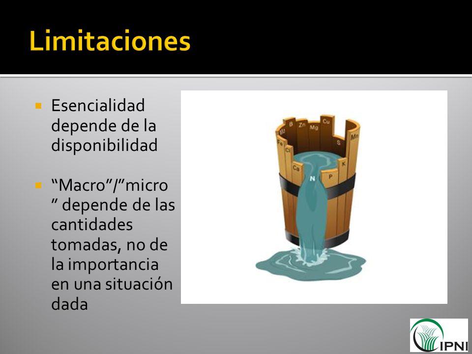 Esencialidad depende de la disponibilidad Macro/micro depende de las cantidades tomadas, no de la importancia en una situación dada