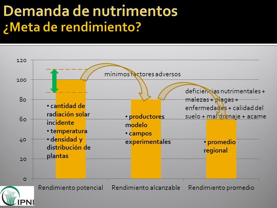 cantidad de radiación solar incidente temperatura densidad y distribución de plantas deficiencias nutrimentales + malezas + plagas + enfermedades + ca