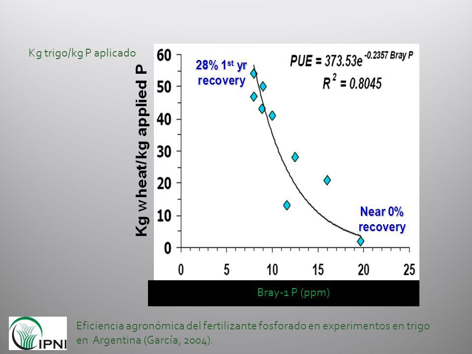 Eficiencia agronómica del fertilizante fosforado en experimentos en trigo en Argentina (García, 2004). Kg trigo/kg P aplicado Bray-1 P (ppm)