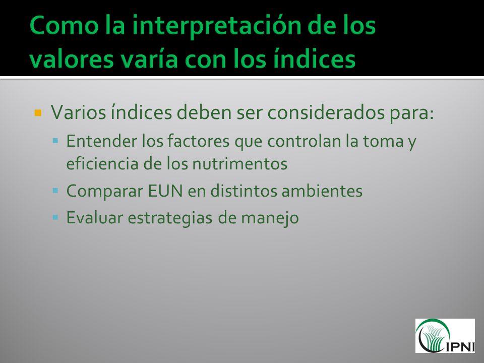 Varios índices deben ser considerados para: Entender los factores que controlan la toma y eficiencia de los nutrimentos Comparar EUN en distintos ambi