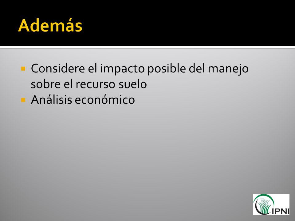Considere el impacto posible del manejo sobre el recurso suelo Análisis económico