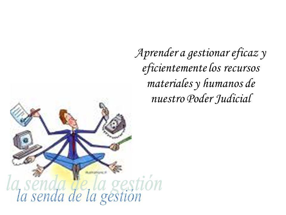 Aprender a gestionar eficaz y eficientemente los recursos materiales y humanos de nuestro Poder Judicial