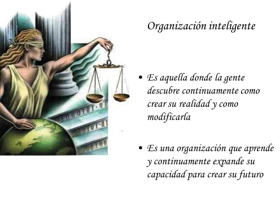 Organización inteligente Es aquella donde la gente descubre continuamente como crear su realidad y como modificarla Es una organización que aprende y continuamente expande su capacidad para crear su futuro