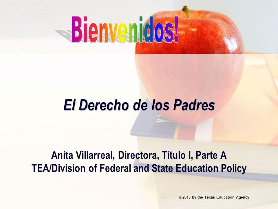 Anita Villarreal Division of Federal and State Education Policy Teléfono:512-463-9402 Fax:(512) 463-9414 Email:anita.villarreal@tea.state.tx.usanita.villarreal@tea.state.tx.us