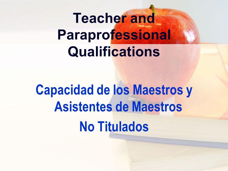 Non-Highly Qualified Teachers Maestros No Altamente Capacitados