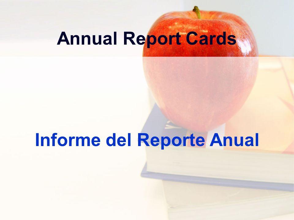 Annual Report Cards Informe del Reporte Anual