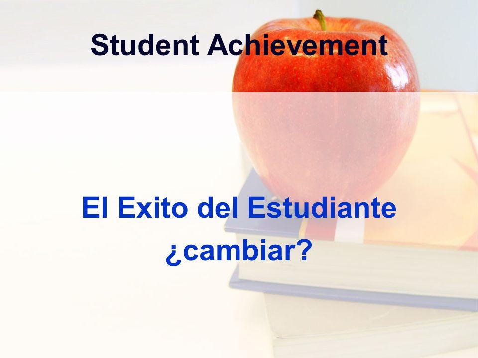 Student Achievement El Exito del Estudiante ¿cambiar