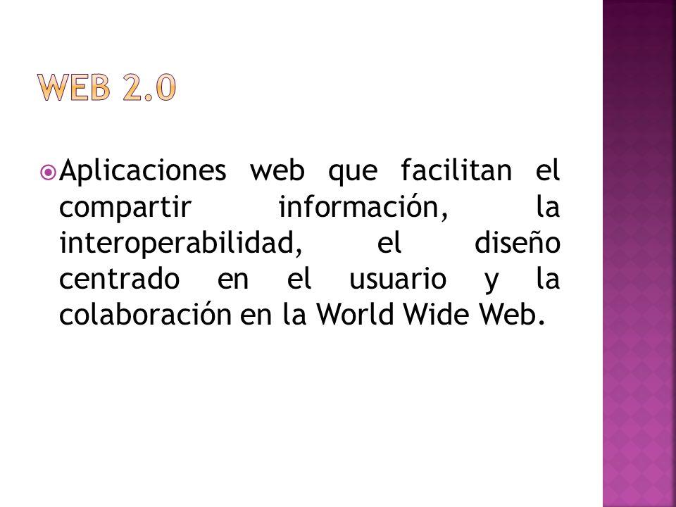 Aplicaciones web que facilitan el compartir información, la interoperabilidad, el diseño centrado en el usuario y la colaboración en la World Wide Web.