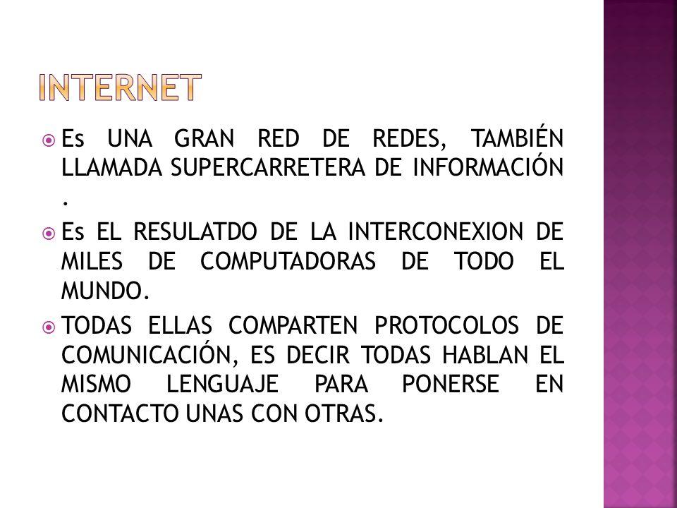 Es UNA GRAN RED DE REDES, TAMBIÉN LLAMADA SUPERCARRETERA DE INFORMACIÓN.
