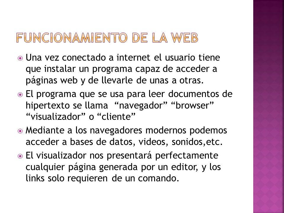Una vez conectado a internet el usuario tiene que instalar un programa capaz de acceder a páginas web y de llevarle de unas a otras.