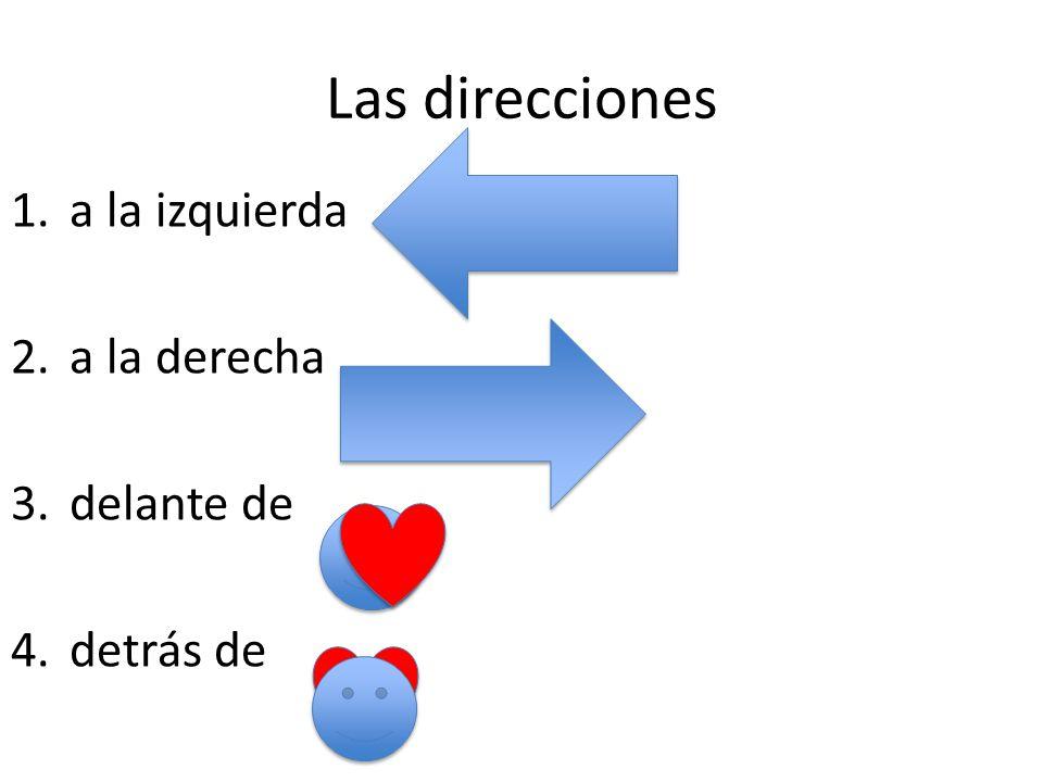 Las direcciones 1.a la izquierda 2.a la derecha 3.delante de 4.detrás de