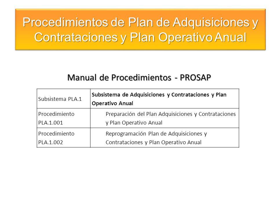 Manual de Procedimientos - PROSAP Procedimientos de Plan de Adquisiciones y Contrataciones y Plan Operativo Anual Subsistema PLA.1 Subsistema de Adqui