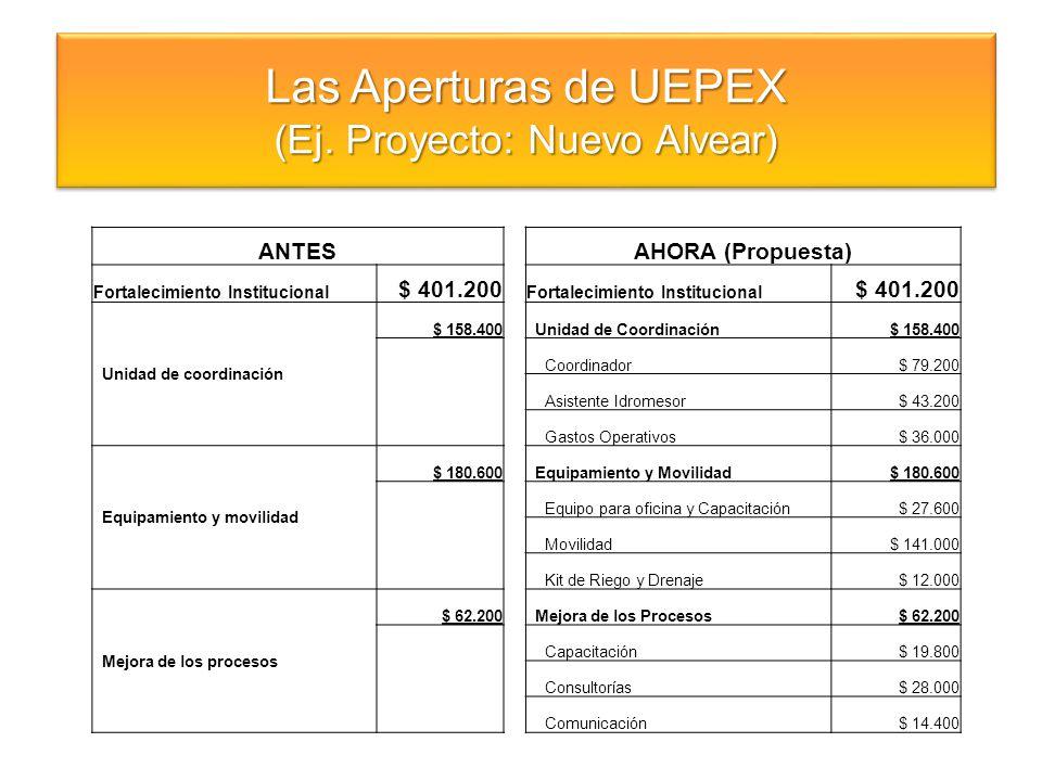Las Aperturas de UEPEX (Ej. Proyecto: Nuevo Alvear) Las Aperturas de UEPEX (Ej. Proyecto: Nuevo Alvear) ANTESAHORA (Propuesta) Fortalecimiento Institu