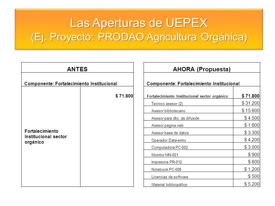 Las Aperturas de UEPEX (Ej. Proyecto: PRODAO Agricultura Orgánica) Las Aperturas de UEPEX (Ej. Proyecto: PRODAO Agricultura Orgánica) ANTESAHORA (Prop