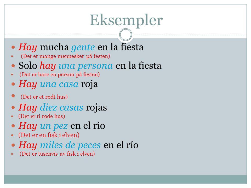 Eksempler Hay mucha gente en la fiesta (Det er mange mennesker på festen) Solo hay una persona en la fiesta (Det er bare en person på festen) Hay una