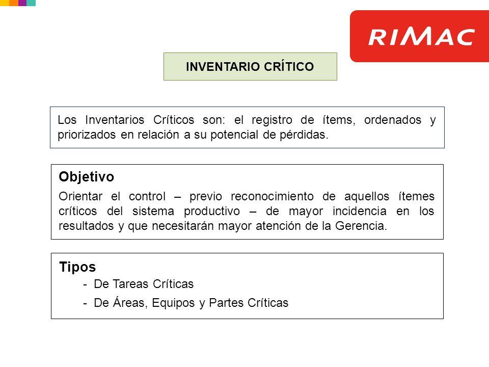 INVENTARIO CRÍTICO Los Inventarios Críticos son: el registro de ítems, ordenados y priorizados en relación a su potencial de pérdidas. Objetivo Orient