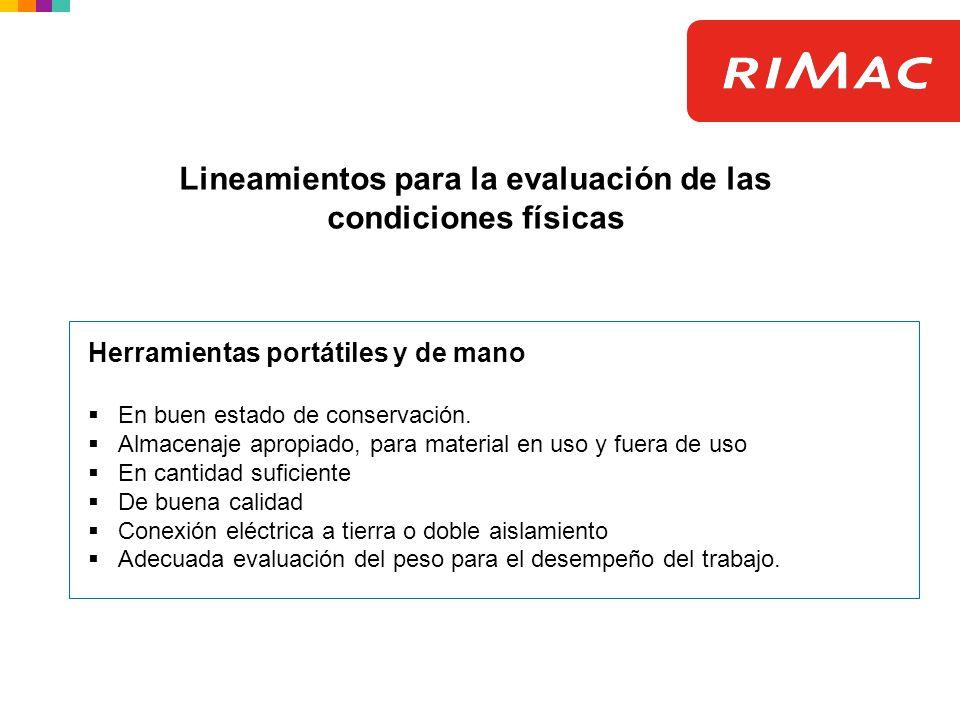 Lineamientos para la evaluación de las condiciones físicas Herramientas portátiles y de mano En buen estado de conservación. Almacenaje apropiado, par