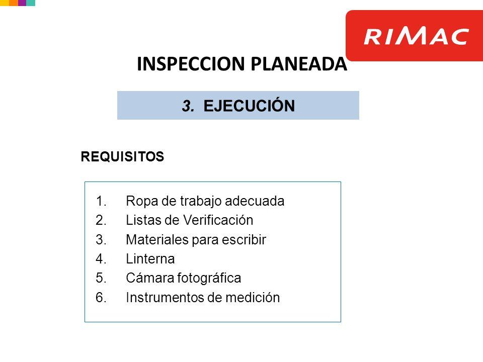 1.Ropa de trabajo adecuada 2.Listas de Verificación 3.Materiales para escribir 4.Linterna 5.Cámara fotográfica 6.Instrumentos de medición REQUISITOS 3