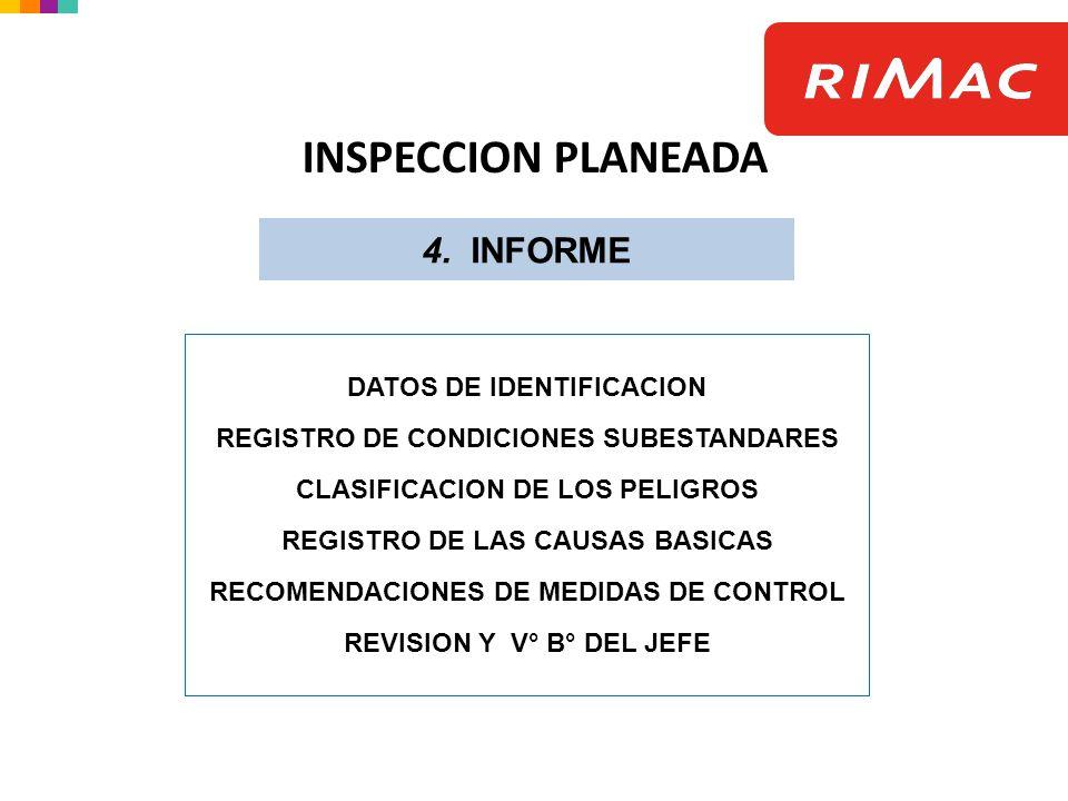 4. INFORME INSPECCION PLANEADA DATOS DE IDENTIFICACION REGISTRO DE CONDICIONES SUBESTANDARES CLASIFICACION DE LOS PELIGROS REGISTRO DE LAS CAUSAS BASI
