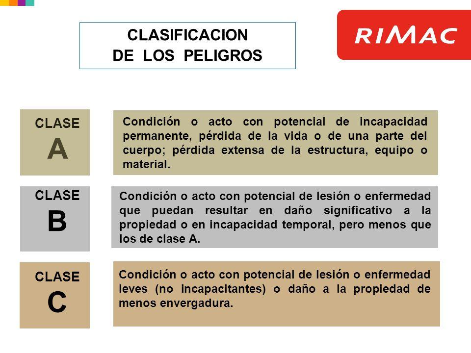 CLASIFICACION DE LOS PELIGROS CLASE A CLASE B CLASE C Condición o acto con potencial de lesión o enfermedad que puedan resultar en daño significativo