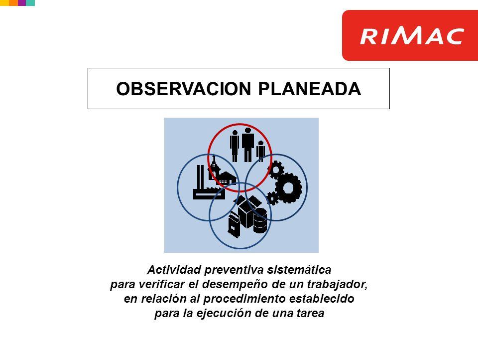 Actividad preventiva sistemática para verificar el desempeño de un trabajador, en relación al procedimiento establecido para la ejecución de una tarea