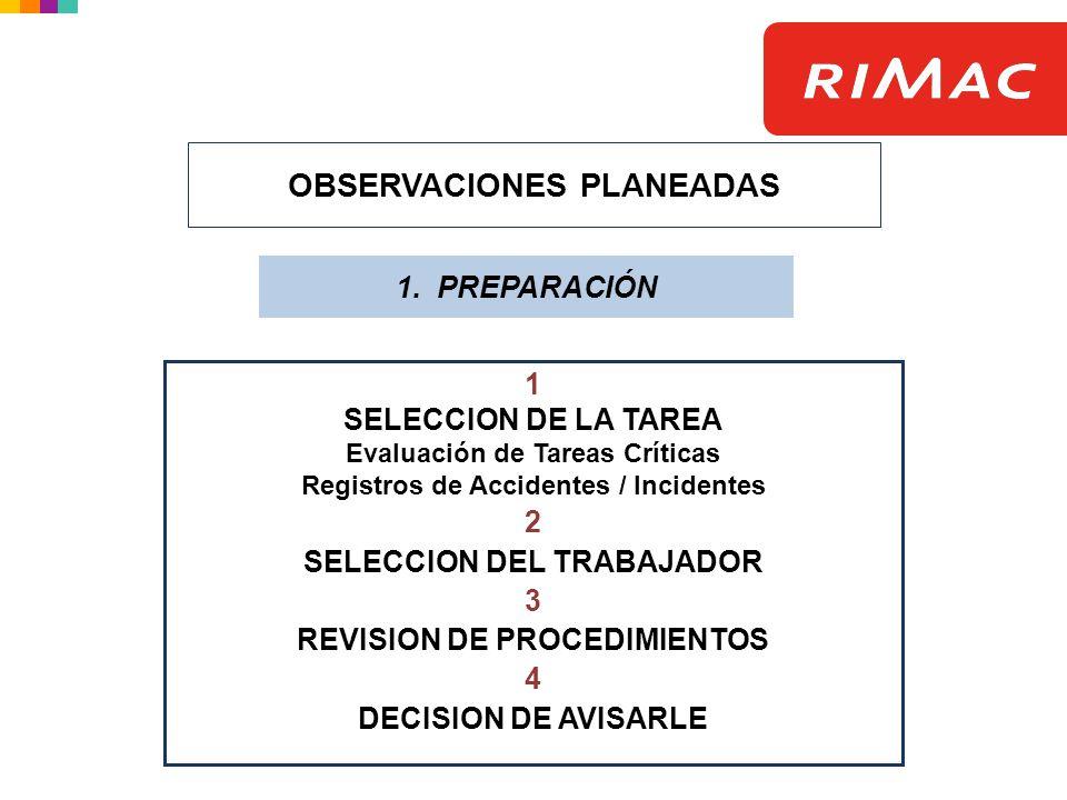 1 SELECCION DE LA TAREA Evaluación de Tareas Críticas Registros de Accidentes / Incidentes 2 SELECCION DEL TRABAJADOR 3 REVISION DE PROCEDIMIENTOS 4 D