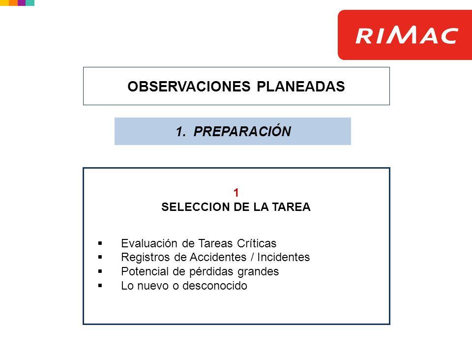 OBSERVACIONES PLANEADAS 1. PREPARACIÓN 1 SELECCION DE LA TAREA Evaluación de Tareas Críticas Registros de Accidentes / Incidentes Potencial de pérdida