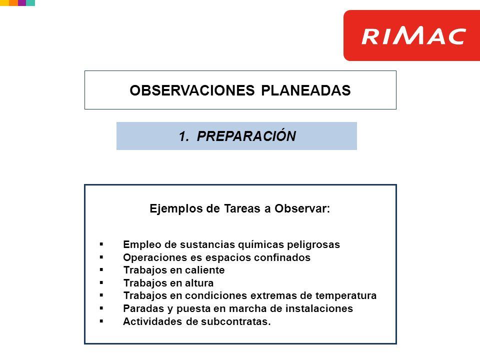 OBSERVACIONES PLANEADAS 1. PREPARACIÓN Ejemplos de Tareas a Observar: Empleo de sustancias químicas peligrosas Operaciones es espacios confinados Trab