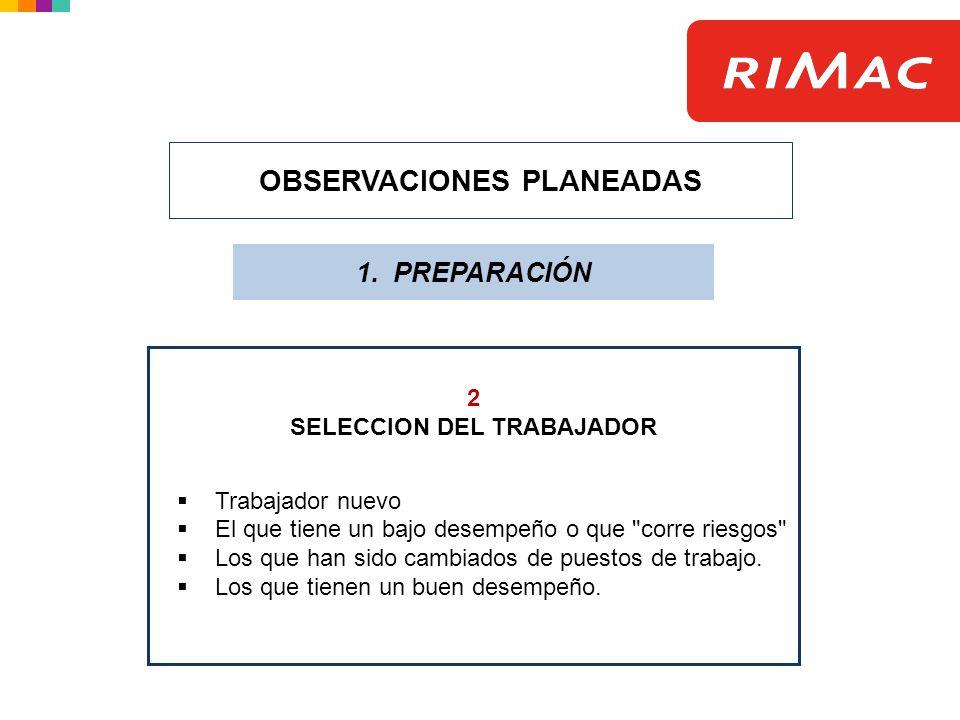 OBSERVACIONES PLANEADAS 1. PREPARACIÓN 2 SELECCION DEL TRABAJADOR Trabajador nuevo El que tiene un bajo desempeño o que