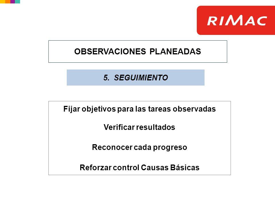 OBSERVACIONES PLANEADAS 5. SEGUIMIENTO Fijar objetivos para las tareas observadas Verificar resultados Reconocer cada progreso Reforzar control Causas