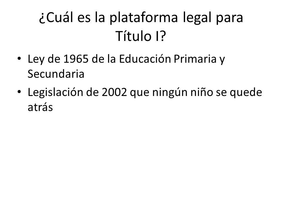 ¿Cuál es la plataforma legal para Título I? Ley de 1965 de la Educación Primaria y Secundaria Legislación de 2002 que ningún niño se quede atrás