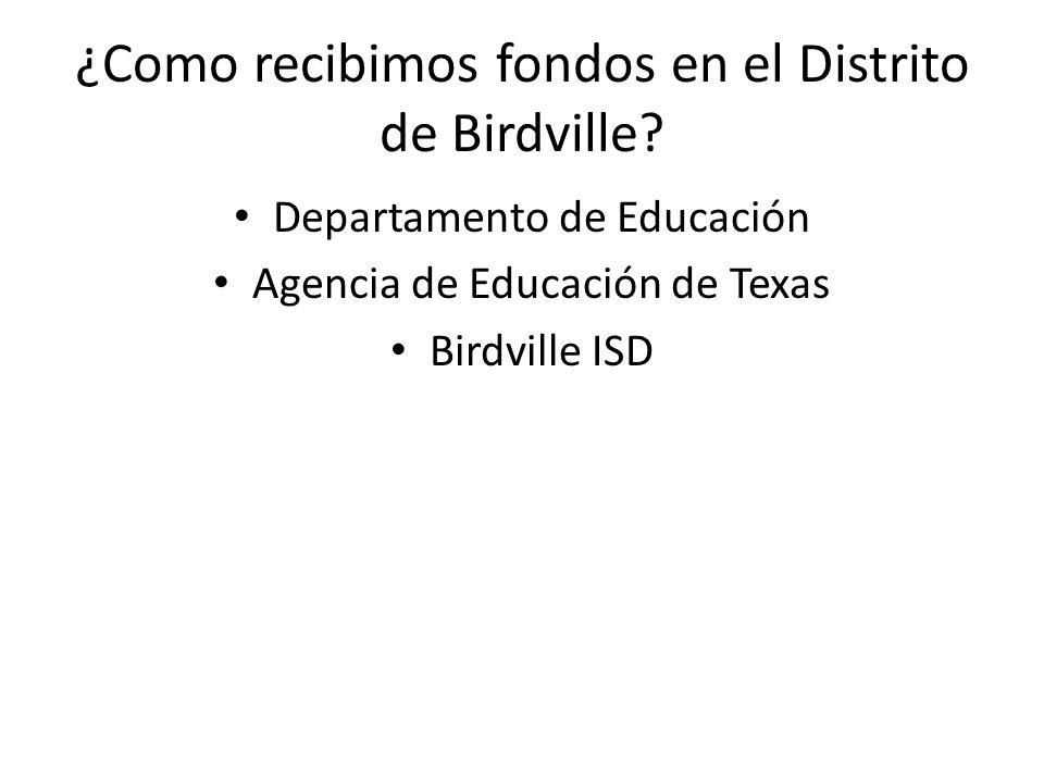 ¿Como recibimos fondos en el Distrito de Birdville? Departamento de Educación Agencia de Educación de Texas Birdville ISD