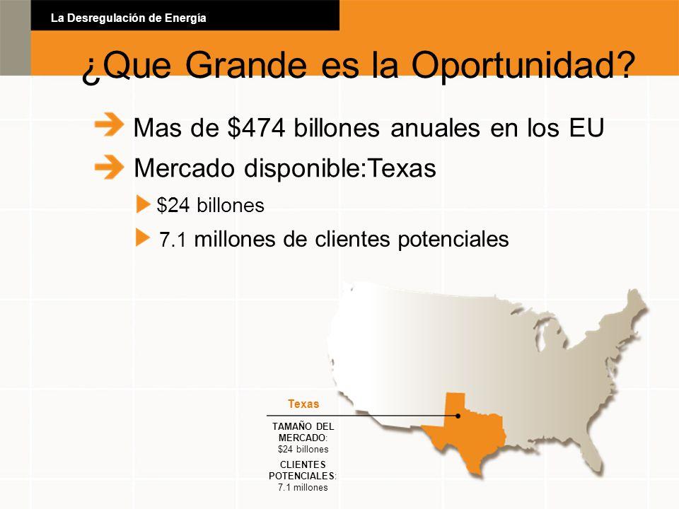 Mas de $474 billones anuales en los EU Mercado disponible:Texas $24 billones 7.1 millones de clientes potenciales Texas TAMAÑO DEL MERCADO: $24 billon