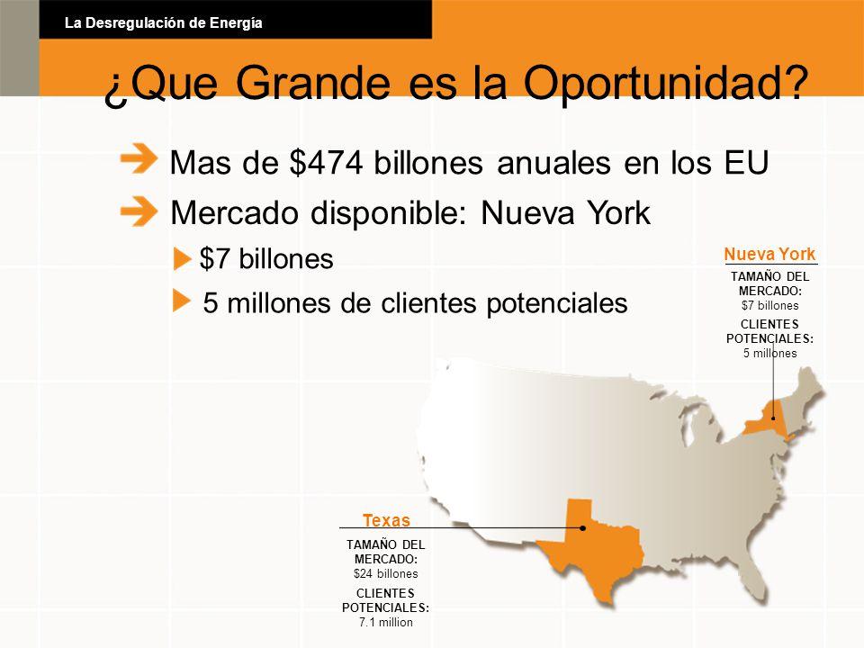 Mas de $474 billones anuales en los EU Mercado disponible: Nueva York $7 billones 5 millones de clientes potenciales Texas TAMAÑO DEL MERCADO: $24 bil