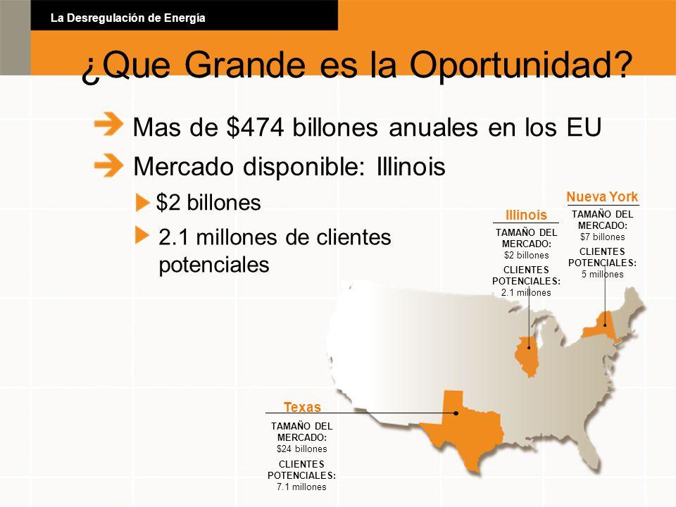 Mas de $474 billones anuales en los EU Mercado disponible: Illinois $2 billones 2.1 millones de clientes potenciales Texas TAMAÑO DEL MERCADO: $24 bil