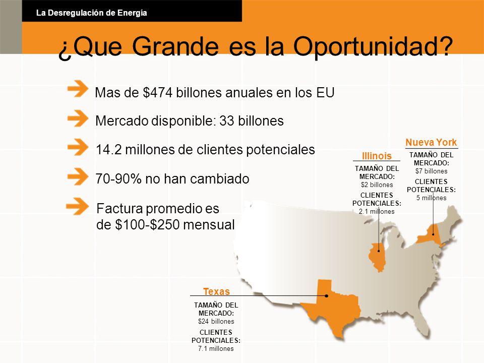 Mas de $474 billones anuales en los EU Mercado disponible: 33 billones Nueva York TAMAÑO DEL MERCADO: $7 billones CLIENTES POTENCIALES: 5 millones Tex