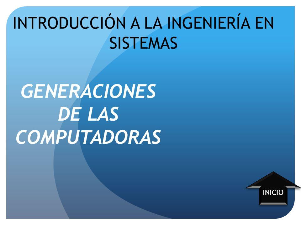 GENERACIONES DE LAS COMPUTADORAS INICIO INTRODUCCIÓN A LA INGENIERÍA EN SISTEMAS