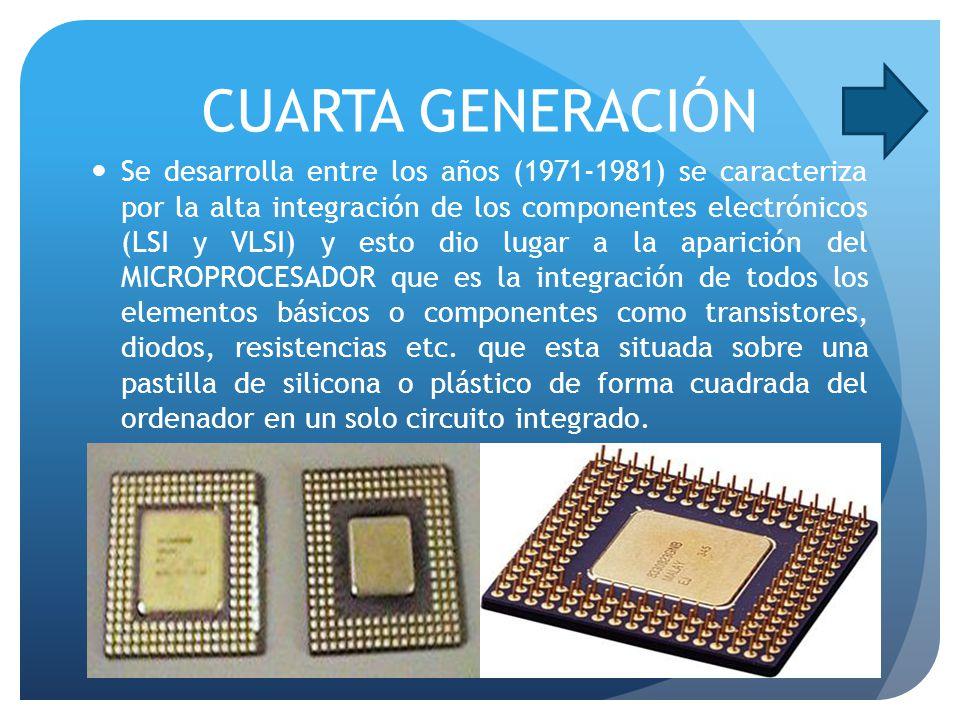 CUARTA GENERACIÓN Se desarrolla entre los años (1971-1981) se caracteriza por la alta integración de los componentes electrónicos (LSI y VLSI) y esto dio lugar a la aparición del MICROPROCESADOR que es la integración de todos los elementos básicos o componentes como transistores, diodos, resistencias etc.
