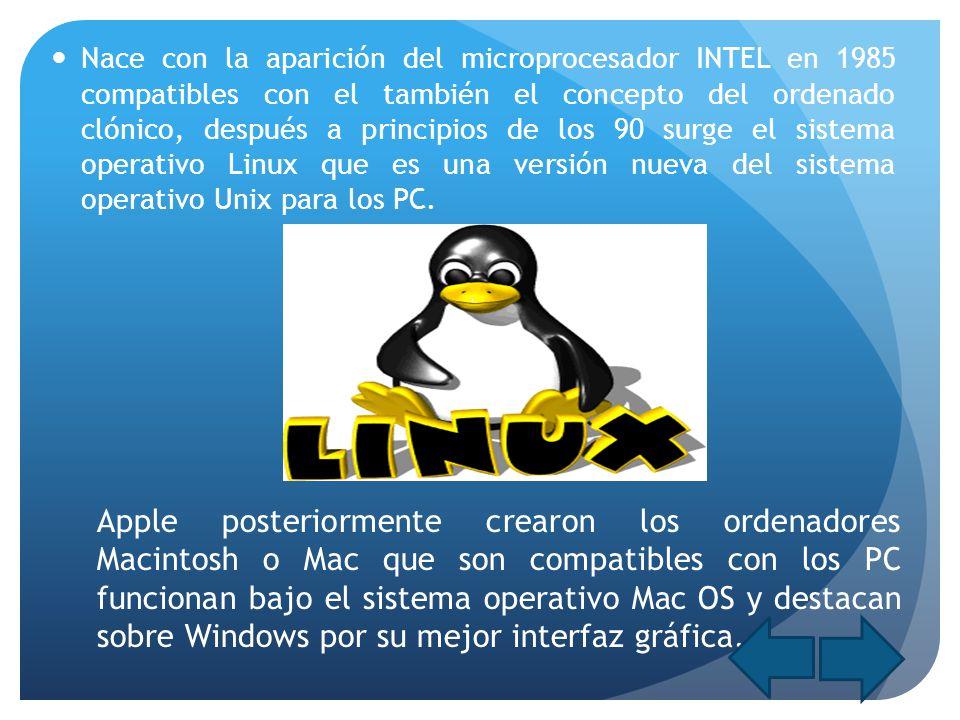 Nace con la aparición del microprocesador INTEL en 1985 compatibles con el también el concepto del ordenado clónico, después a principios de los 90 su
