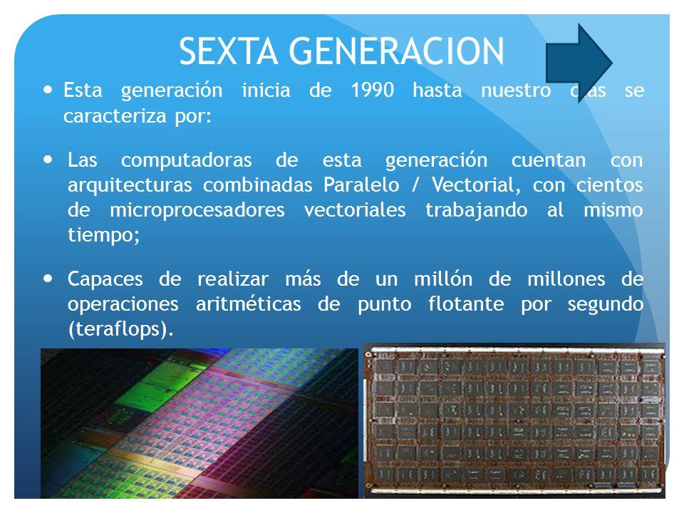 SEXTA GENERACION Esta generación inicia de 1990 hasta nuestro días se caracteriza por: Las computadoras de esta generación cuentan con arquitecturas combinadas Paralelo / Vectorial, con cientos de microprocesadores vectoriales trabajando al mismo tiempo; Capaces de realizar más de un millón de millones de operaciones aritméticas de punto flotante por segundo (teraflops).