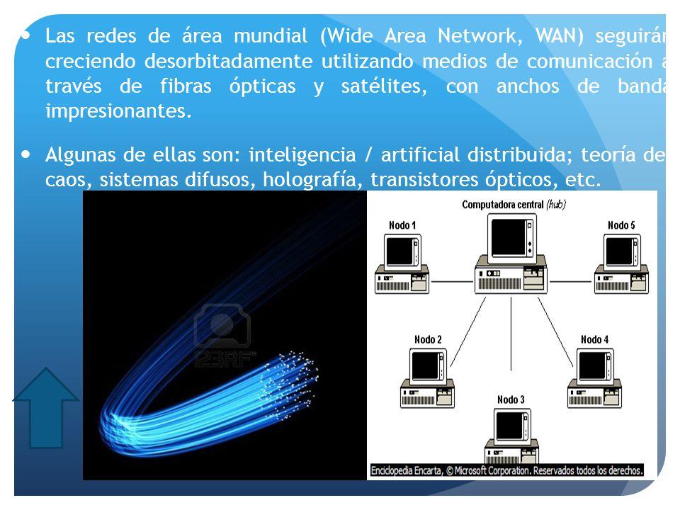 Las redes de área mundial (Wide Area Network, WAN) seguirán creciendo desorbitadamente utilizando medios de comunicación a través de fibras ópticas y satélites, con anchos de banda impresionantes.