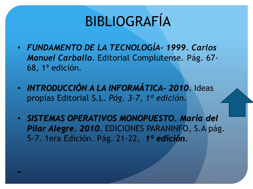 BIBLIOGRAFÍA FUNDAMENTO DE LA TECNOLOGÍA- 1999. Carlos Manuel Carballo. Editorial Complutense. Pág. 67- 68, 1ª edición. INTRODUCCIÓN A LA INFORMÁTICA-