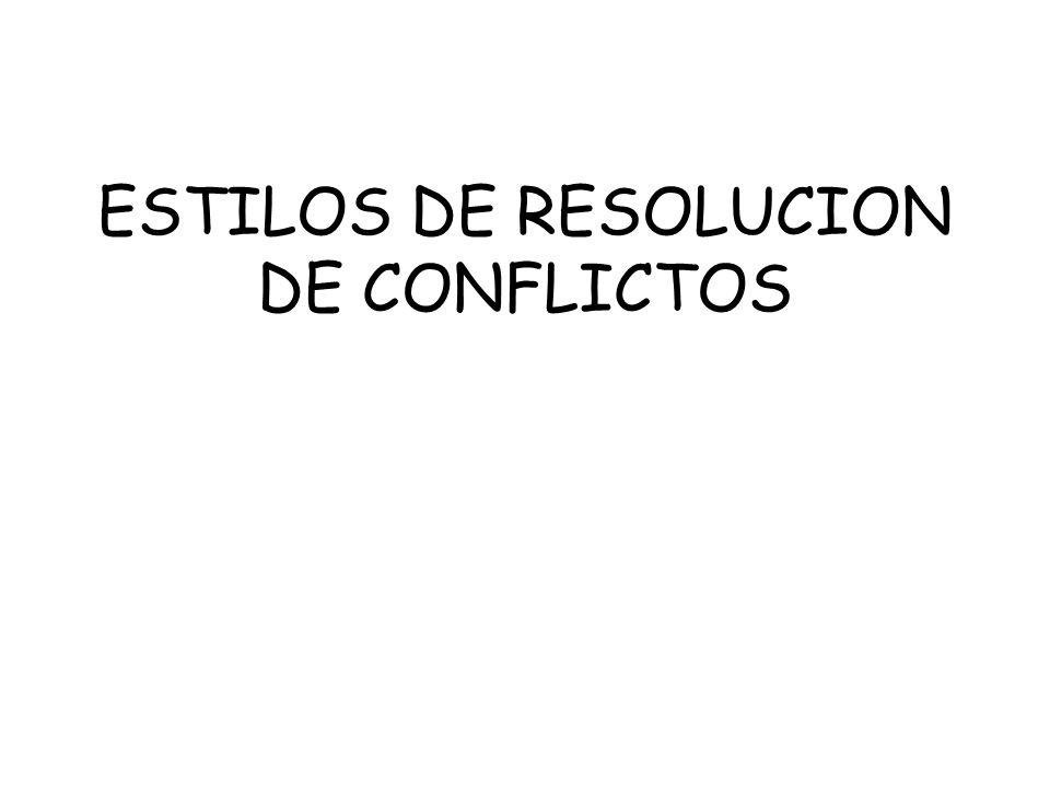 ESTILOS DE RESOLUCION DE CONFLICTOS
